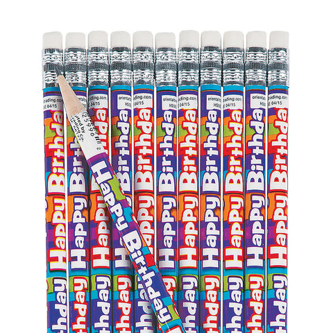 Striped Birthday Pencils