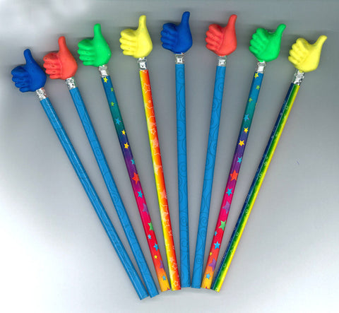 12 Pencils with Thumbs Up Erasers
