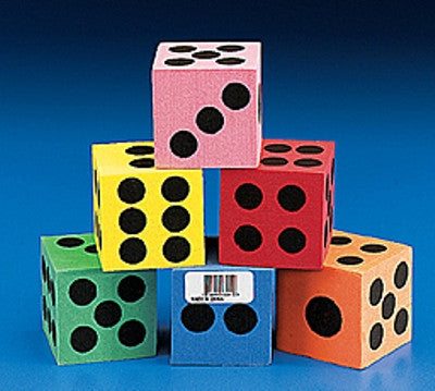 12 Mini Foam Dice 3cm