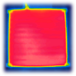 Cropped thermal image of a Calidum heated bed