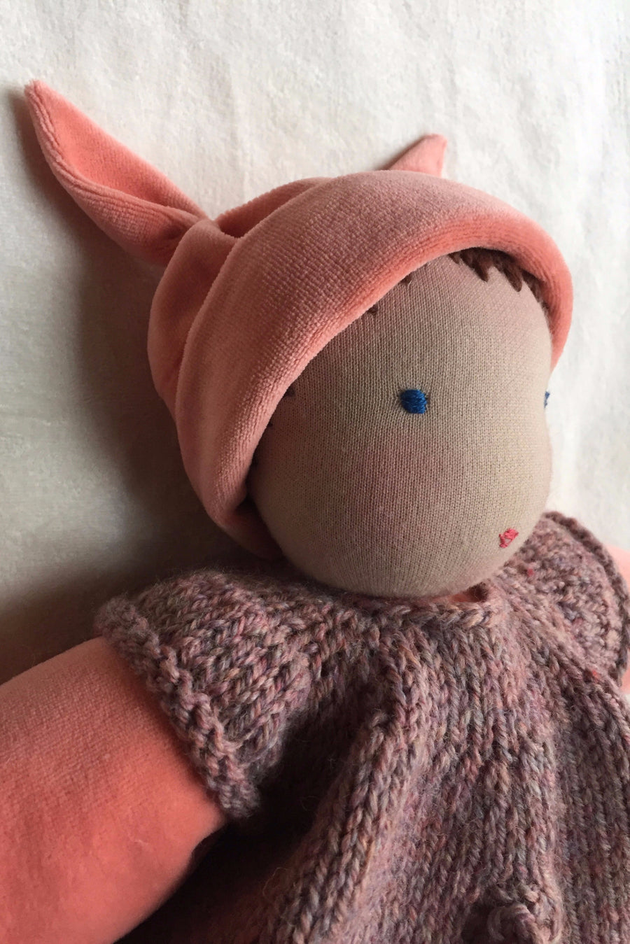 first baby doll, cuddle doll, cotton velour doll, waldorf doll, snuggle doll, toddler doll, nursery gift, baby shower gift