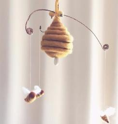 Sleepy Bees Mobile with mechanical music box