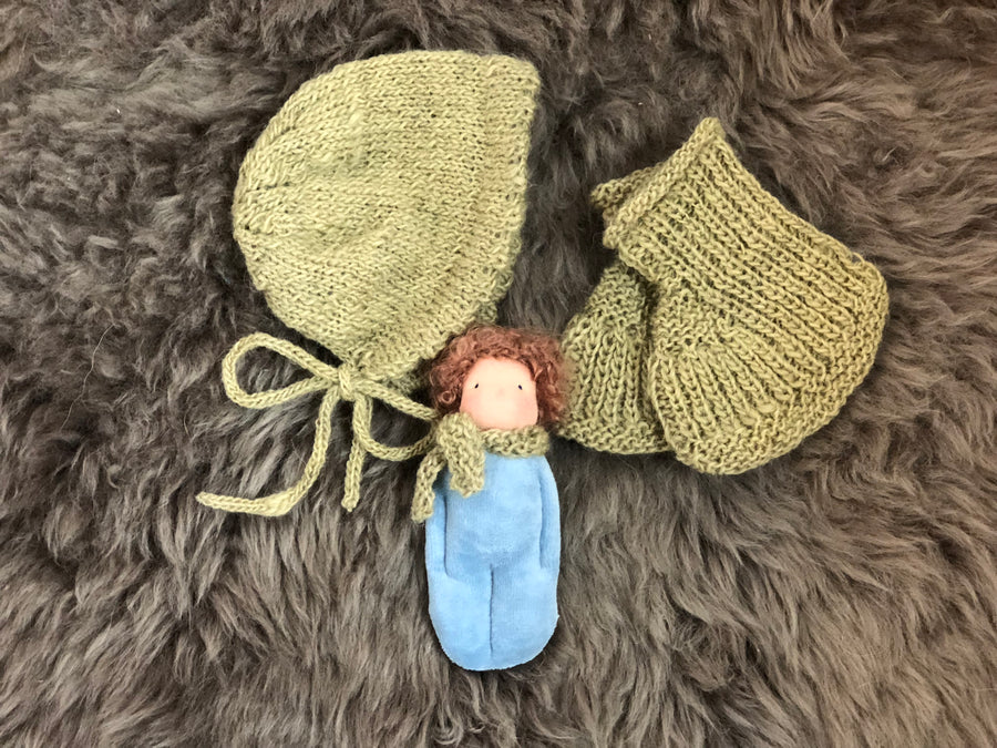 knit set, newborn, bonnet, wool, Waldorf inspired doll, Waldorf inspired, Waldorf doll, Steiner doll, natural materials, fiber art doll, doll, cotton, Cloth doll, art doll, boy, girl, toy, play, role play