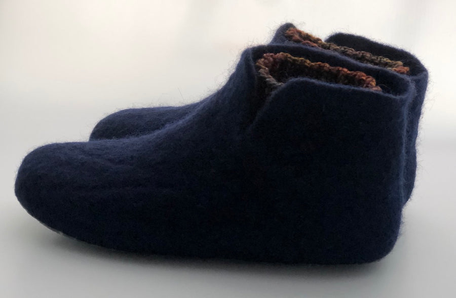 Blue felted Slippers women 8.5