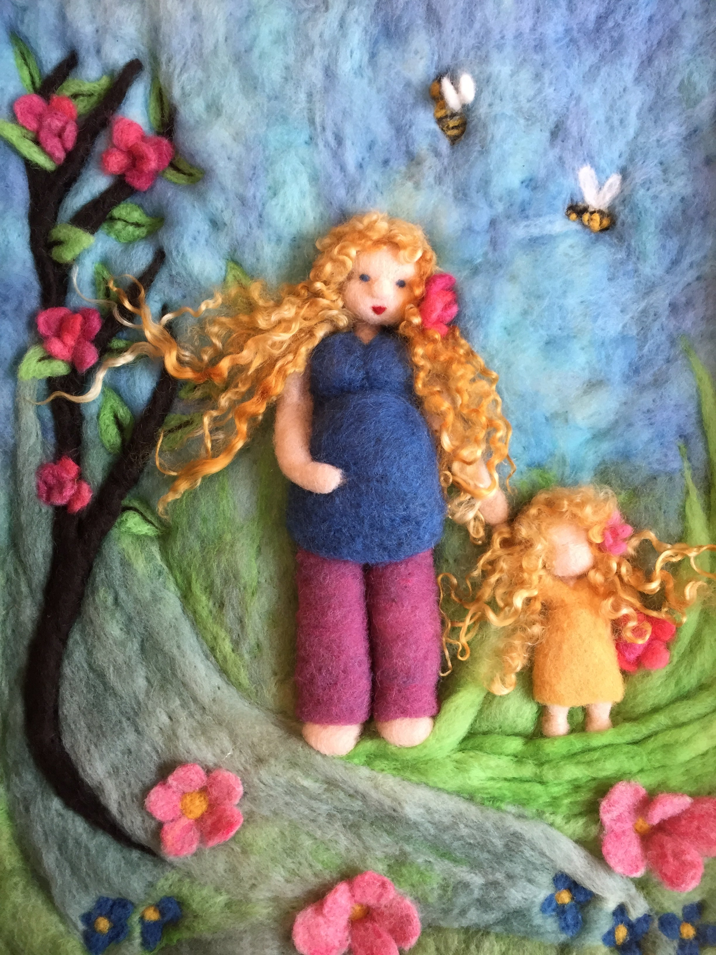 Mother and child, Mother's Day, gift, baby nursery, felted, wall hanging, home decor, felted, wool, wool fiber, 3D felted. fiber art, art, handmade, hand felted, wet felted, needle felted