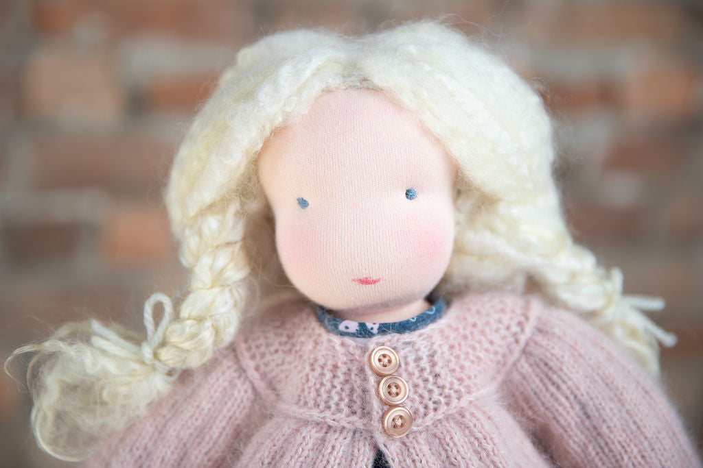 wool, Waldorf inspired doll, waldorf inspired, waldorf doll, steiner doll,  natural materials, doll, cotton, cloth doll, collectors doll, fiber art doll