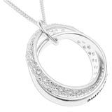 SPARKLING DOUBLE RING PENDENT INTERLOCKED & PERSONALIZED - STERLING SILVER