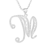 LARGE INITIAL CZ SET PENDENT - STERLING SILVER
