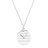 HEART CHARM OVER ROUND MESSAGE DISC - STERLING SILVER