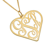 THREE LETTER HEART MONOGRAM NECKLACE - GOLD