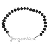 NAME CRYSTAL BEADED STRETCH BRACELET BLACK - STERLING SILVER