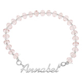 NAME CRYSTAL BEADED STRETCH BRACELET PINK - STERLING SILVER