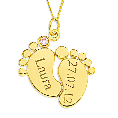 Baby Feet Personalized Pendent for Girls in 10k Gold