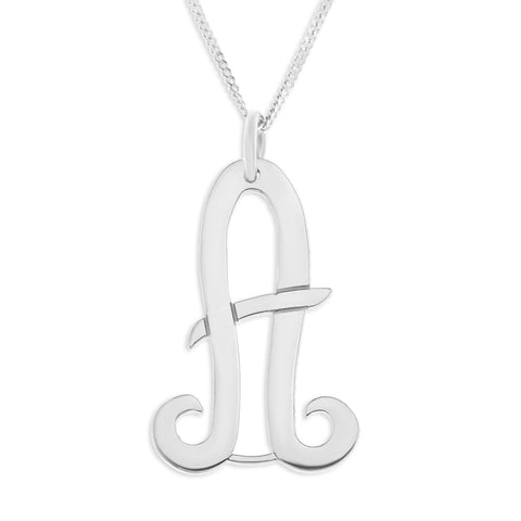 INITIAL NECKLACE LARGE - STERLING SILVER