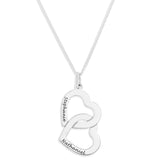 DOUBLE INTERLOCKING HEARTS PENDENT ENGRAVED - STERLING SILVER
