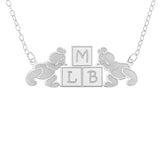 BEAR KIDS NECKLACE WITH  3 INITIALS - STERLING SILVER