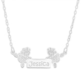 DANCING BALLERINA BEARS NAME NECKLACE - STERLING SILVER