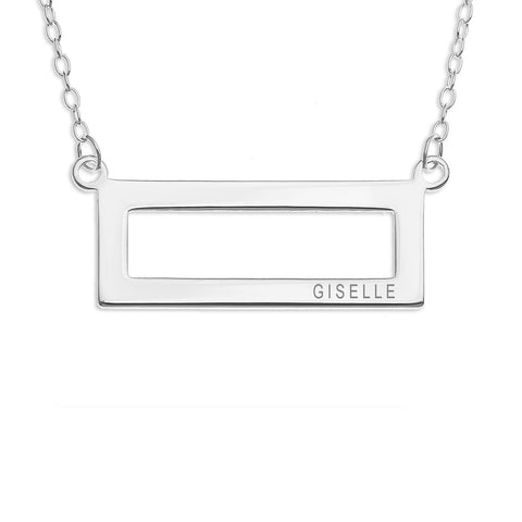 HORIZONTAL RECTANGULAR NAME NECKLACE ENGRAVED - STERLING SILVER