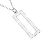 VERTICAL RECTANGULAR NAME NECKLACE ENGRAVED - STERLING SILVER