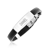 MENS NAME BRACELET - STEEL AND RUBBER