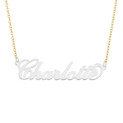 LIMITED EDITON NAME NECKLACE SCRIPT - STERLING SILVER WITH GOLD CHAIN