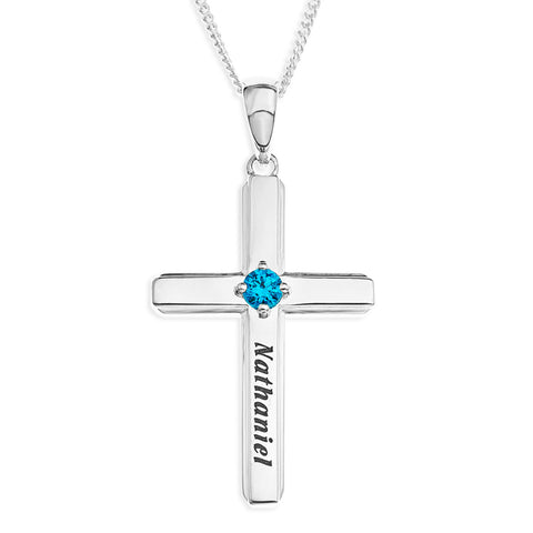 CROSS BIRTHSTONE PENDENT - STERLING SILVER