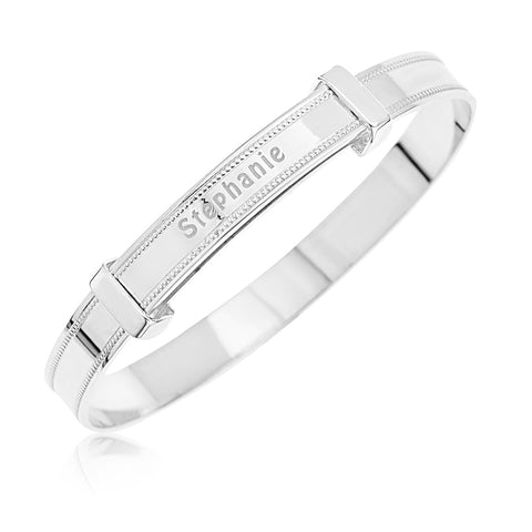 Baby Bangle Bracelet with personalized name engraved  in Sterling Silver 925.