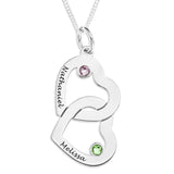 Interlocking Hearts Birthstone Pendent - STERLING SILVER