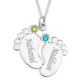 BABY FEET PENDENT WITH BIRTHSTONE - STERLING SILVER