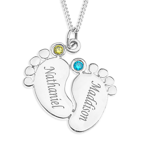 Baby Feet Personalized Pendent with Birthstone - STERLING SILVER