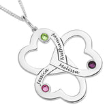 THREE INTERLOCKING HEARTS PENDENT WITH BIRTHSTONE - STERLING SILVER