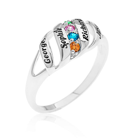 FAMILY BIRTHSTONE RING - STERLING SILVER