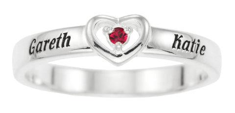 FAMILY KEEPSAKE HEART RING WITH BIRTHSTONES- STERLING SILVER