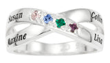 Family Crossover Birthstone Ring Personalized - STERLING SILVER