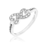 DIAMOND PROMISE RING WITH DOUBLE HEART INFINITY- STERLING SILVER