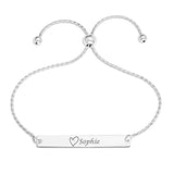 NAME BAR WITH HEART ON ADJUSTABLE SLIDER BRACELET - STERLING SILVER