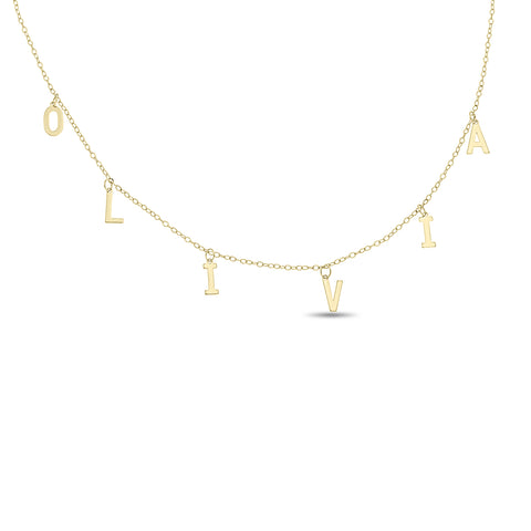 Letter Charm Name Choker Necklace in 10k Gold.