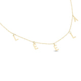 NAME LETTER CHARM CHOKER/NECKLACE - YELLOW GOLD 10k
