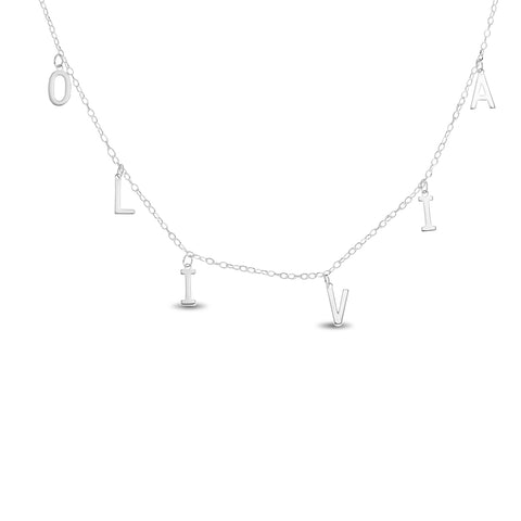 Letter Charm Name Choker Necklace in Sterling Silver 925