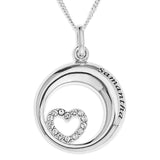 HEART STONES SET IN 3D CIRCLE PENDENT - STERLING SILVER
