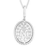 Miraculous Medals in Sterling Silver set with Cubic Zirconia on Silver Chain.