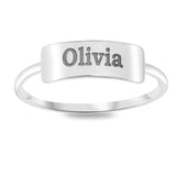Name Bar Stack Ring - STERLING SILVER