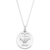 LOVE MESSAGE DISC AND HEART CHARM WITH DIAMOND PENDENT  - STERLING SILVER