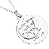 HORSESHOE CHARM OVER ROUND MESSAGE DISC PENDENT  - STERLING SILVER