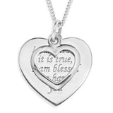 HEART ON HEART MESSAGE PENDENT - STERLING SILVER