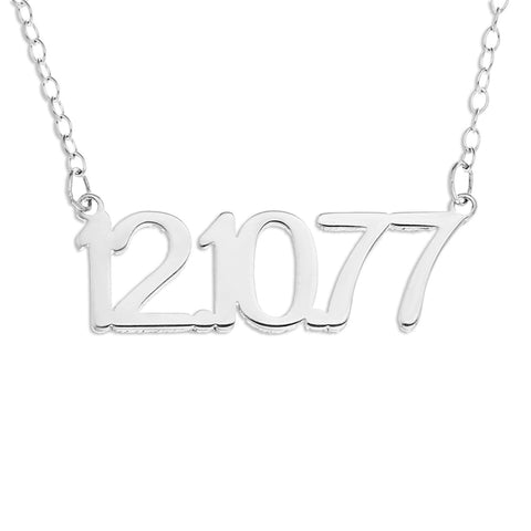 NUMBER NECKLACE - STERLING SILVER