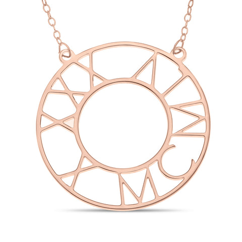 ROMAN BIRTHDAY CIRCLE NECKLACE - ROSE GOLD PLATED STERLING SILVER