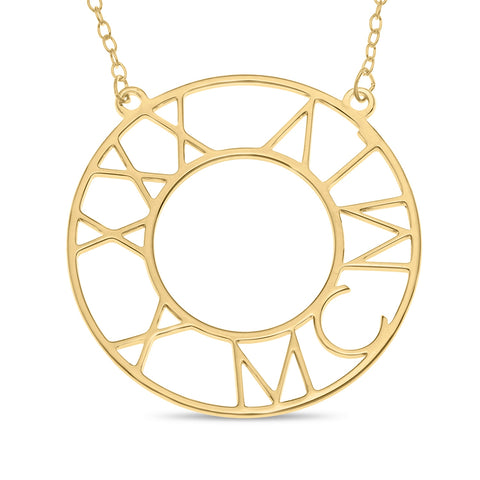 Roman Birthday Circle Necklace in Yellow Gold plated Sterling Silver
