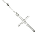 ROSARY WITH VIRGIN MARY AND CRUCIFIX NECKLACE - STERLING SILVER