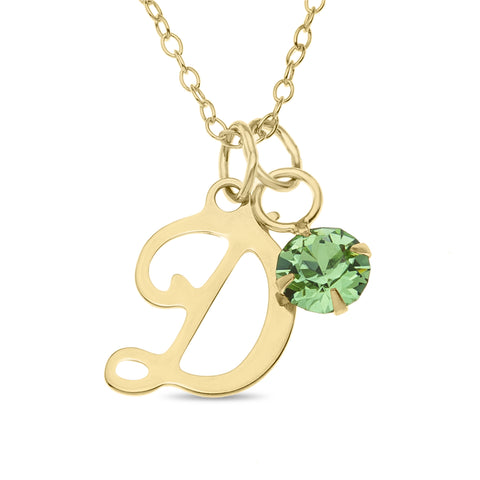 Single Initial with Birthstone Charm Pendent in 10k Gold